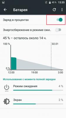 Заряд аккумулятора в процентах в телефоне на Android