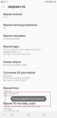 Режим разработчика Samsung J6+ на Android 8.1