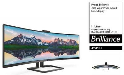 Philips выпустил 49-дюймовый изогнутый монитор SuperWide 499P9H