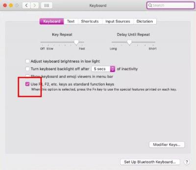 Функциональные клавиши F1-F12 на Mac